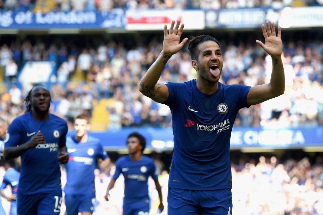 Fabregas celebrates against Everton