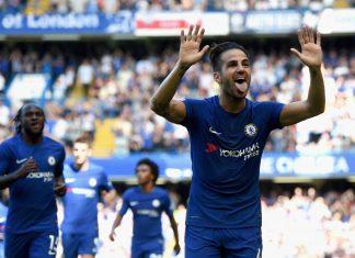 Fabregas celebrates against Everton