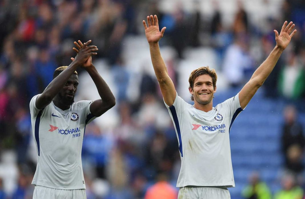 Alonso and Bakayoko celebrate against Leicester City
