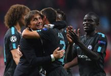 Kante and Conte against Atletico Madrid
