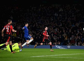 Álvaro Morata scores against Bournemouth at Stamford Bridge