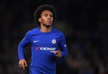 Willian in action against Brighton and Hove Albion at Stamford Bridge