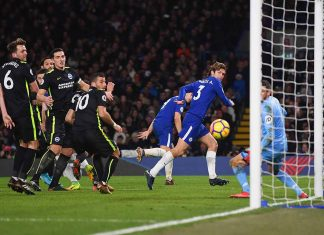Marcos Alonso Mendoza scores against Brighton and Hove Albion at Stamford Bridge