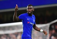 Antonio Rüdiger in action against Brighton and Hove Albion at Stamford Bridge.