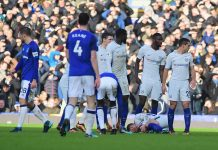Eden Hazard injured against Everton at Goodison Park