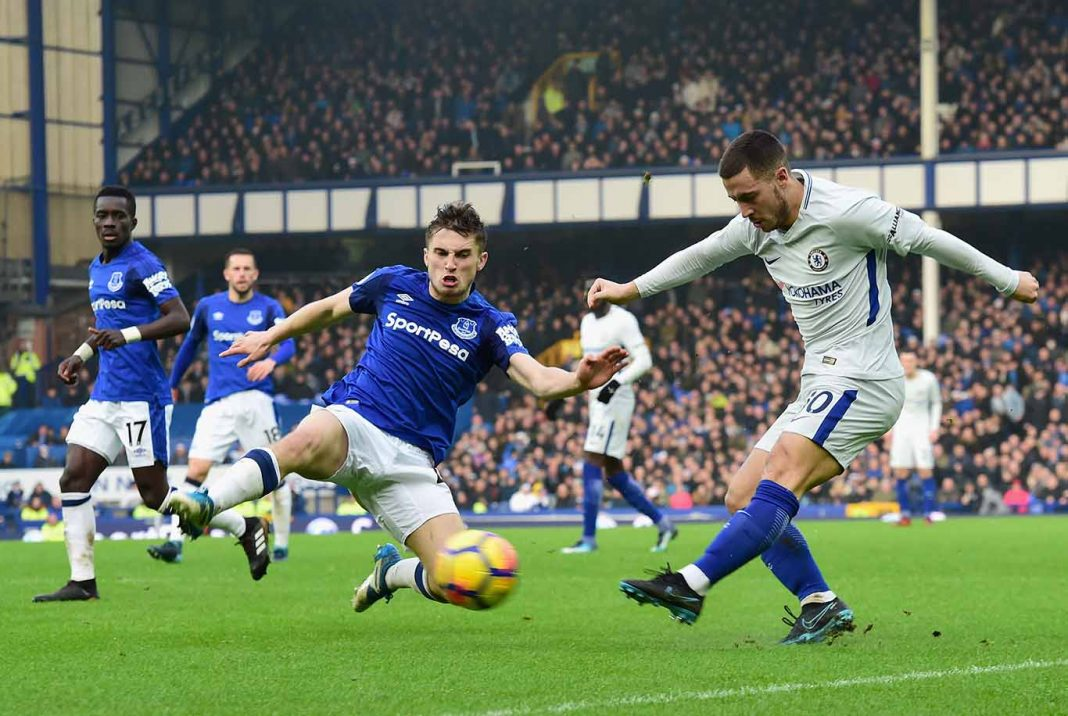 Eden Hazard in action against Everton at Goodison Park