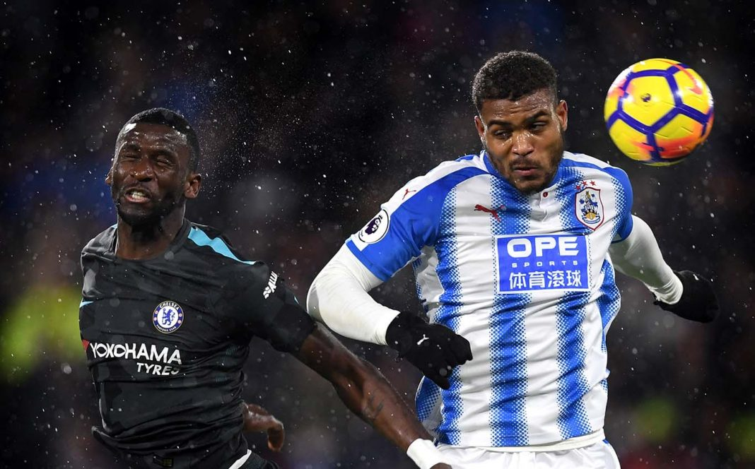 Antonio Rüdiger in action against Huddersfield Town at the John Smith's Stadium