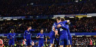 Marcos Alonso Mendoza celebrates against Southampton at Stamford Bridge