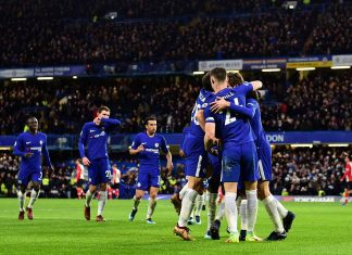 Marcos Alonso Mendoza celebrates against Southampton at Stamford Bridge