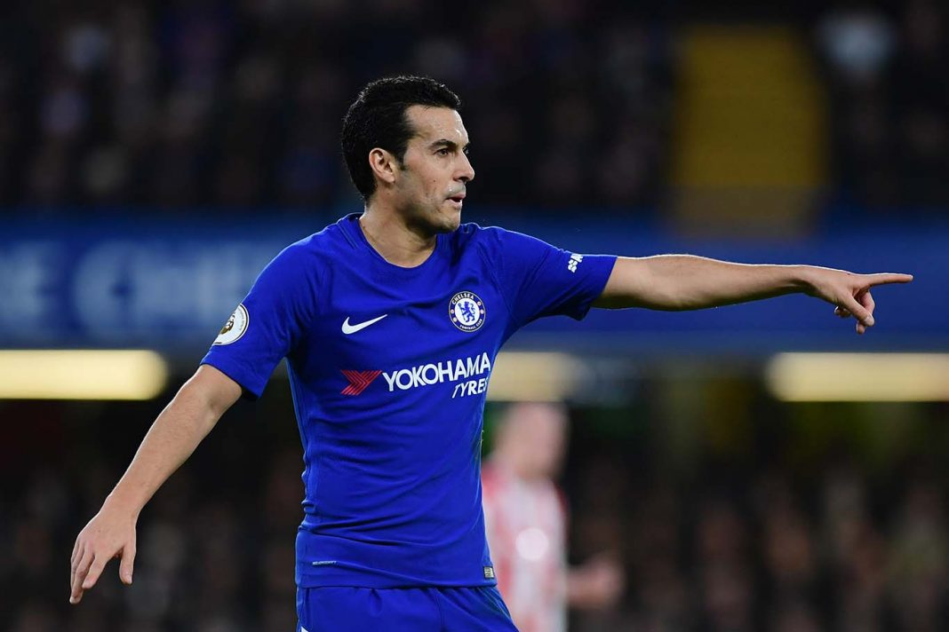 Pedro of Chelsea reacts during the Premier League match between Chelsea and Stoke City at Stamford Bridge on December 30, 2017 in London.