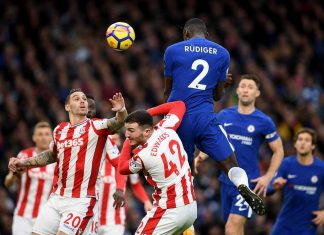 Antonio Rudiger of Chelsea scores the first goal during the Premier League match between Chelsea and Stoke City at Stamford Bridge on December 30, 2017 in London.