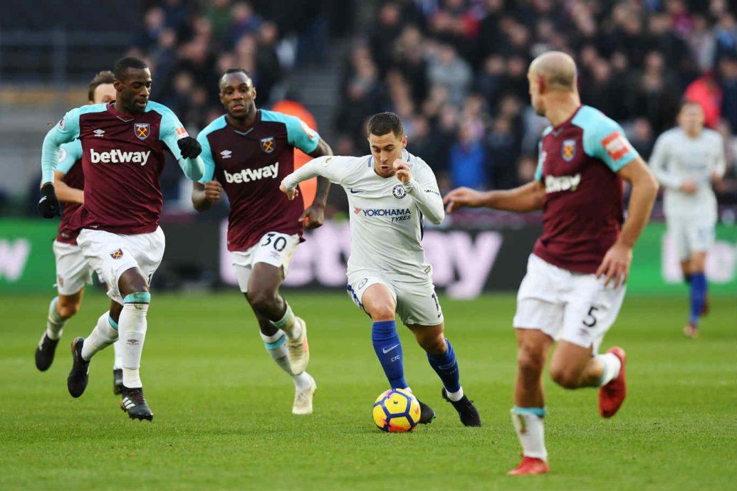 Eden Hazard in action against West Ham at the London Stadium
