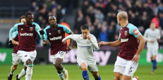 Eden Hazard in action against West Ham at the London Stadium