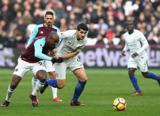 Álvaro Morata in action against West Ham at the London Stadium