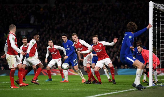 A general view of action during the Carabao Cup Semi-Final First Leg match between Chelsea and Arsenal at Stamford Bridge on January 10, 2018 in London.