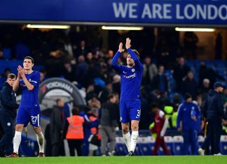 Marcos Alonso of Chelsea and Andreas Christensen clap the fans after the Carabao Cup Semi-Final First Leg match between Chelsea and Arsenal at Stamford Bridge on January 10, 2018 in London.