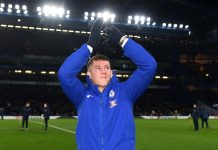 Ross Barkley of Chelsea is introduced to the Chelsea fans at half time during the Carabao Cup Semi-Final First Leg match between Chelsea and Arsenal at Stamford Bridge.