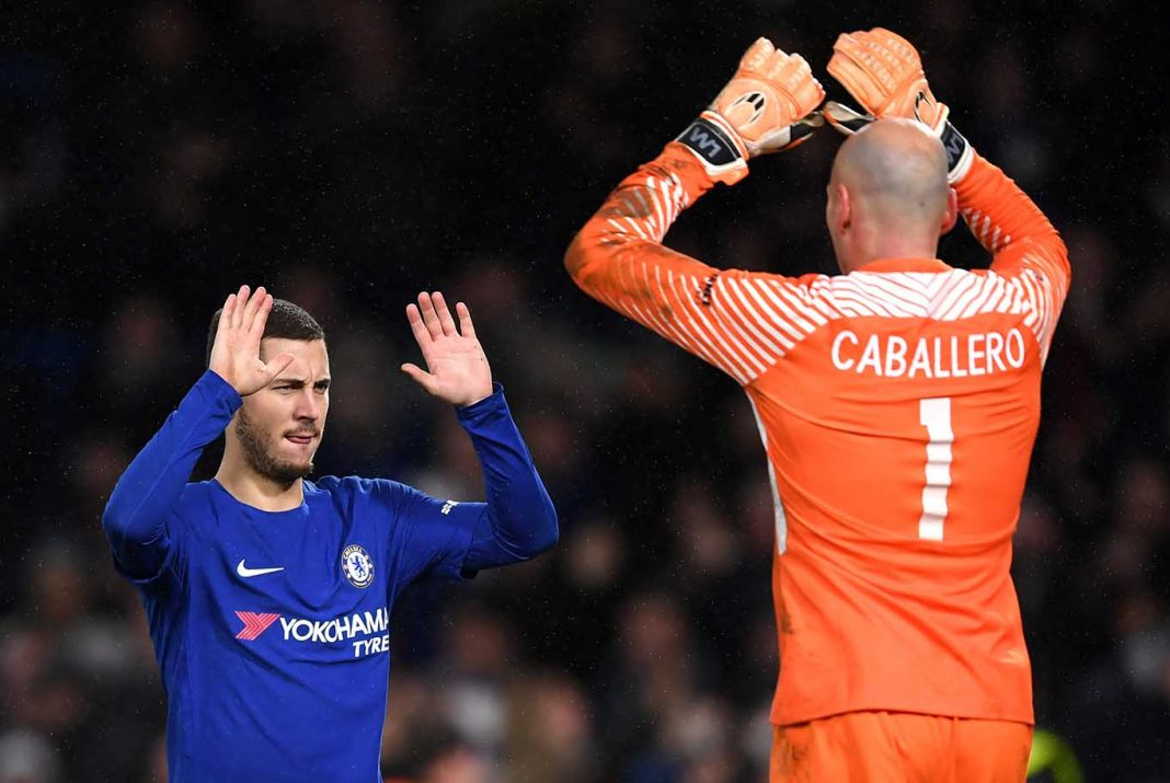 Willy Caballero of congratulates Eden Hazard of Chelsea after scoring the winning penalty during The Emirates FA Cup Third Round Replay between Chelsea and Norwich City at Stamford Bridge on January 17, 2018 in London.