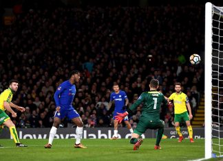 Michy Batshuayi scores during The Emirates FA Cup Third Round Replay between Chelsea and Norwich City at Stamford Bridge on January 17, 2018 in London.