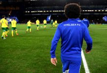 Willian of makes his way out onto the pitch during The Emirates FA Cup Third Round Replay between Chelsea and Norwich City at Stamford Bridge on January 17, 2018 in London.
