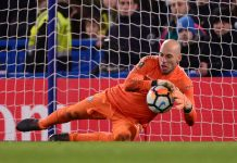 Willy Caballero makes a save during the Emirates FA Cup Fifth Round match between Chelsea and Hull City at Stamford Bridge on February 16, 2018 in London.