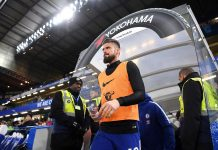 Olivier Giroud during the Premier League match between Chelsea and West Bromwich Albion at Stamford Bridge on February 12, 2018 in London.