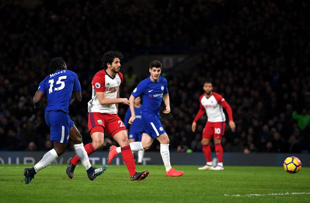 Victor Moses scores his sides second goal during the Premier League match between Chelsea and West Bromwich Albion at Stamford Bridge on February 12, 2018 in London.