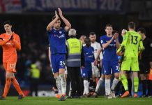Gary Cahill of Chelsea shows appreciation to the fans after the Premier League match between Chelsea and Crystal Palace at Stamford Bridge on March 10, 2018 in London.