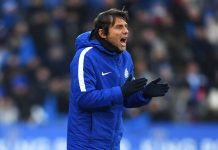 Antonio Conte shouts during The Emirates FA Cup Quarter Final match between Leicester City and Chelsea at The King Power Stadium on March 18, 2018 in Leicester.