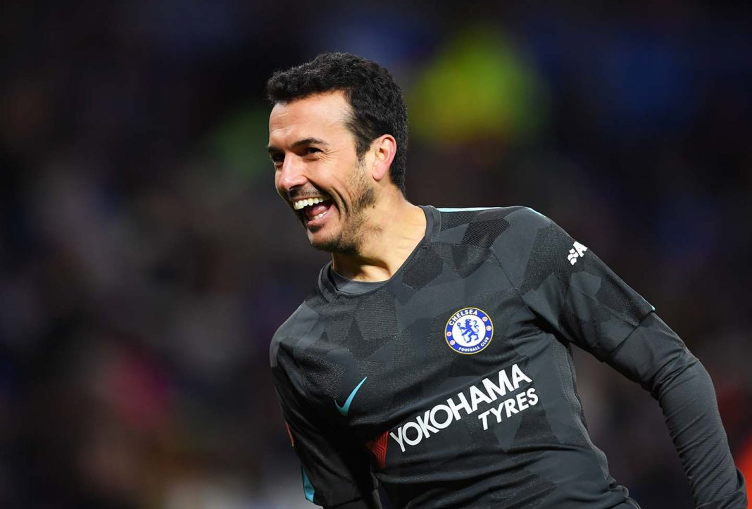 Pedro celebrates as he scores their second goal during The Emirates FA Cup Quarter Final match between Leicester City and Chelsea at The King Power Stadium on March 18, 2018 in Leicester.