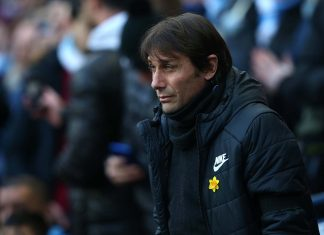 Antonio Conte looks on ahead of the Premier League match between Manchester City and Chelsea at Etihad Stadium on March 4, 2018 in Manchester.