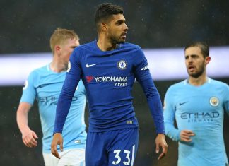Emerson Palmieri looks on following the Premier League match between Manchester City and Chelsea at Etihad Stadium on March 4, 2018 in Manchester.