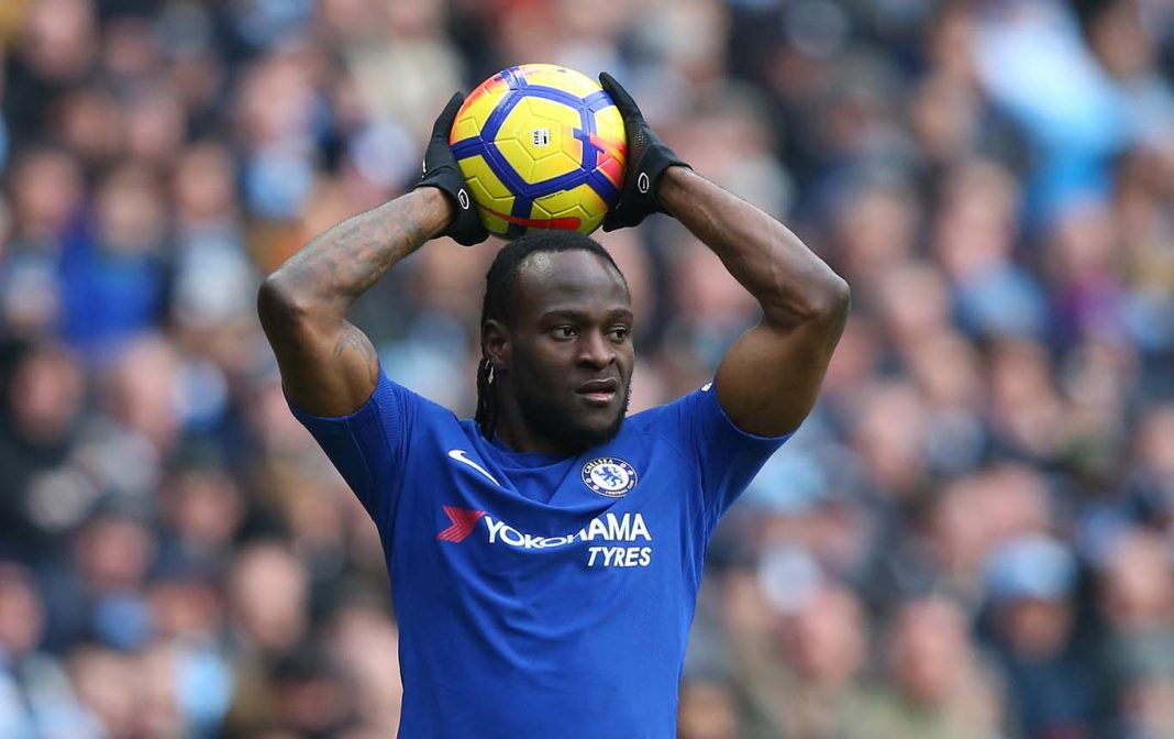 Victor Moses in action during the Premier League match between Manchester City and Chelsea at Etihad Stadium on March 4, 2018 in Manchester, England.