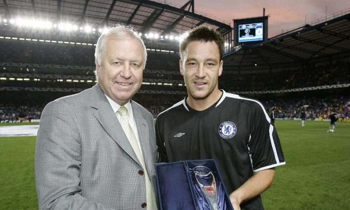 John Terry receives his UEFA award from Peter Osgood