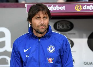 Antonio Conte looks on prior to the Premier League match between Burnley and Chelsea at Turf Moor on April 19, 2018 in Burnley.
