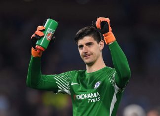Thibaut Courtois celebrates victory after the Premier League match between Burnley and Chelsea at Turf Moor on April 19, 2018 in Burnley.
