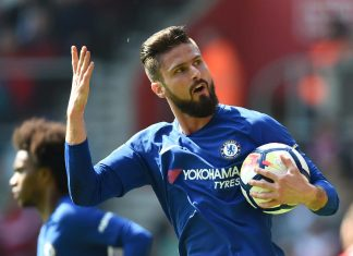 Olivier Giroud celebrates after scoring his first goal during the Premier League match between Southampton and Chelsea at St Mary's Stadium on April 14, 2018 in Southampton.