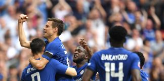 Alvaro Morata celebrates scoring the 2nd Chelsea goal with Cesar Azpilicueta during The Emirates FA Cup Semi Final match between Chelsea and Southampton at Wembley Stadium on April 22, 2018 in London.
