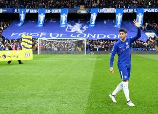 Alvaro Morata waves to the fans prior to the Premier League match between Chelsea and Tottenham Hotspur at Stamford Bridge on April 1, 2018 in London.