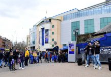 Beatboxers perform outside the stadium prior to the Premier League match between Chelsea and Tottenham Hotspur at Stamford Bridge on April 1, 2018 in London.