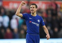 Cesar Azpilicueta shows appreciation to the fans following the Premier League match between Swansea City and Chelsea at Liberty Stadium on April 28, 2018 in Swansea, Wales.