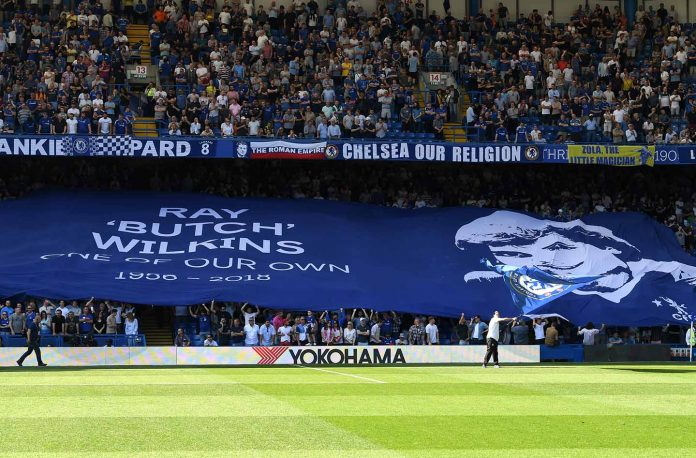 A tribute to Ray Wilkins is seen prior to the Premier League match between Chelsea and Liverpool at Stamford Bridge on May 6, 2018 in London, England.