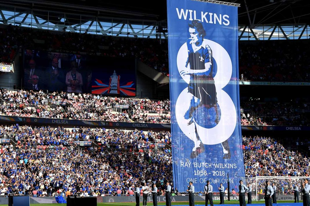 A tribute banner in remembrance of Ray Wilkins is seen prior to The Emirates FA Cup Final between Chelsea and Manchester United at Wembley Stadium on May 19, 2018 in London, England.
