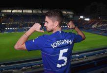 Chelsea Unveil New Signing Jorginho at Stamford Bridge on July 13, 2018 in London, England.