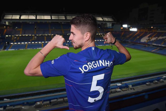 Chelsea Unveil New Signing Jorginho at Stamford Bridge on July 13, 2018 in London, England.