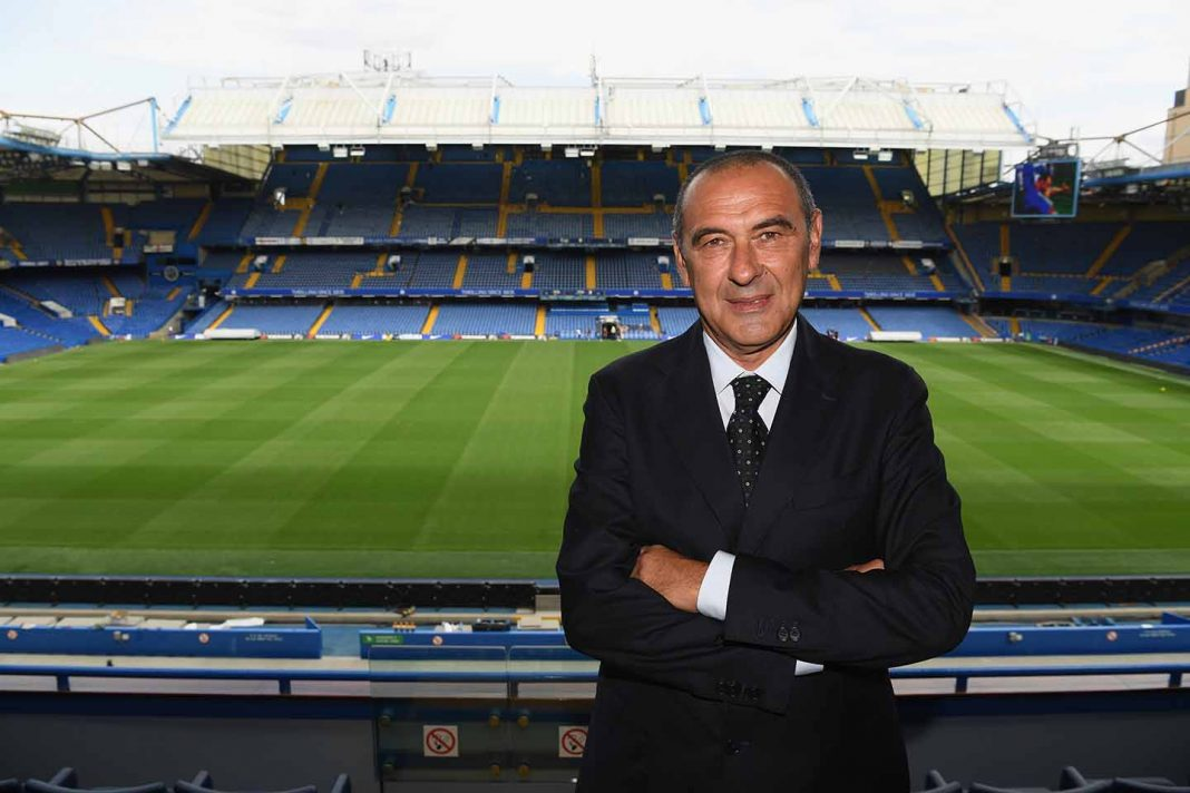 Chelsea unveil new head coach, Maurizio Sarri at Stamford Bridge on July 18, 2018 in London, England.