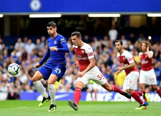 Alvaro Morata and Granit Xhaka of Arsenal battle for the ball during the Premier League match between Chelsea FC and Arsenal FC at Stamford Bridge on August 18, 2018 in London.