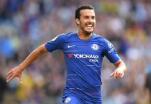 Pedro celebrates after scoring his team's first goal during the Premier League match between Chelsea FC and Arsenal FC at Stamford Bridge on August 18, 2018 in London.