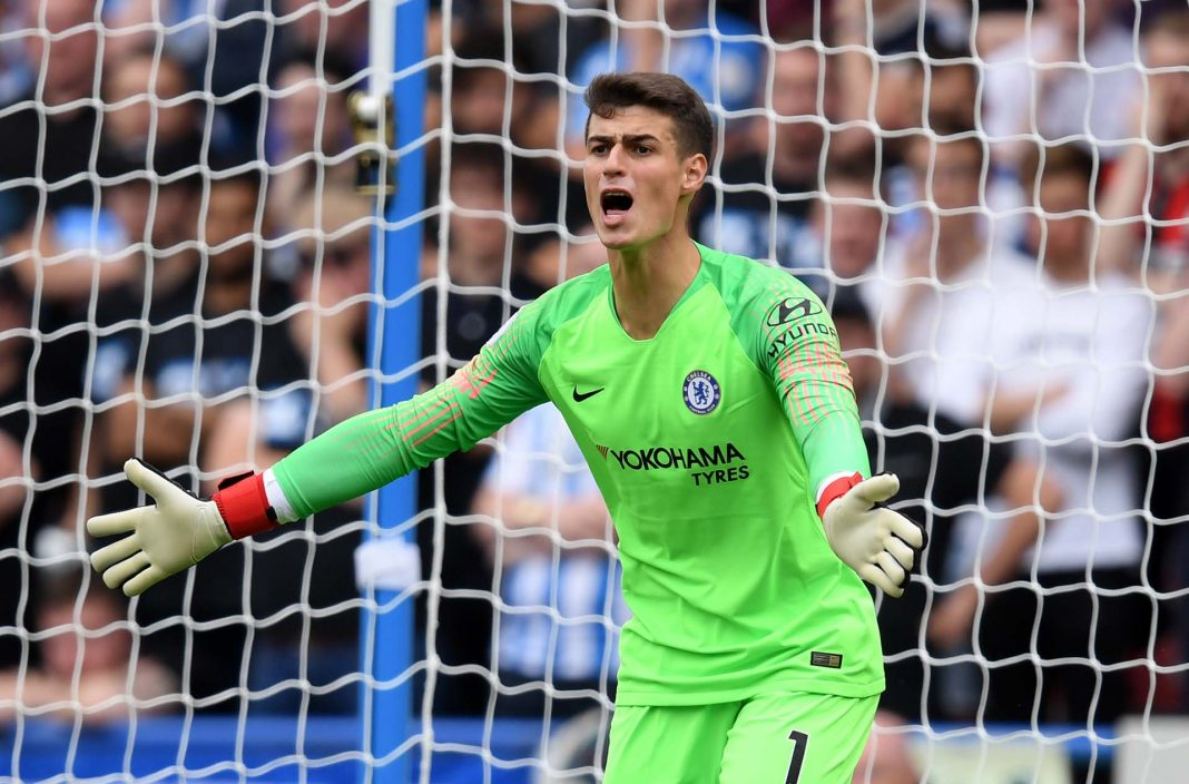 Kepa Arrizabalaga of Chelsea gives his team instructions during the Premier League match between Huddersfield Town and Chelsea FC at John Smith's Stadium on August 11, 2018 in Huddersfield.
