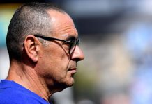 Maurizio Sarri looks on during the warm up prior to the Premier League match between Huddersfield Town and Chelsea FC at John Smith's Stadium on August 11, 2018 in Huddersfield.